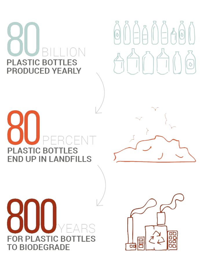 80 billion plastic bottles yearly. 80% end up in landfills. 800 years to biodegrade.